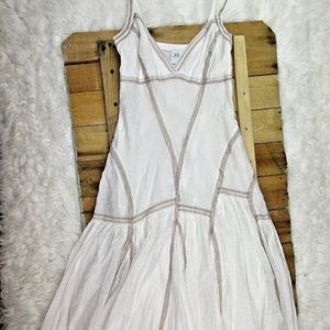 Armani White and Tan Stitched A Line Dress